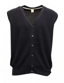 GRP geometric knitted dark blue cotton vest 206 GILET BLUSCURO order online