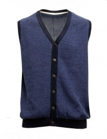 GRP blue and light blue cotton-linen vest 206 GILET BLU GRP order online