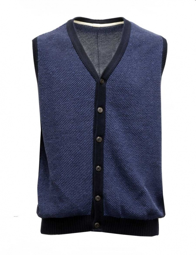 GRP blue and light blue cotton-linen vest 206 GILET BLU GRP mens vests online shopping