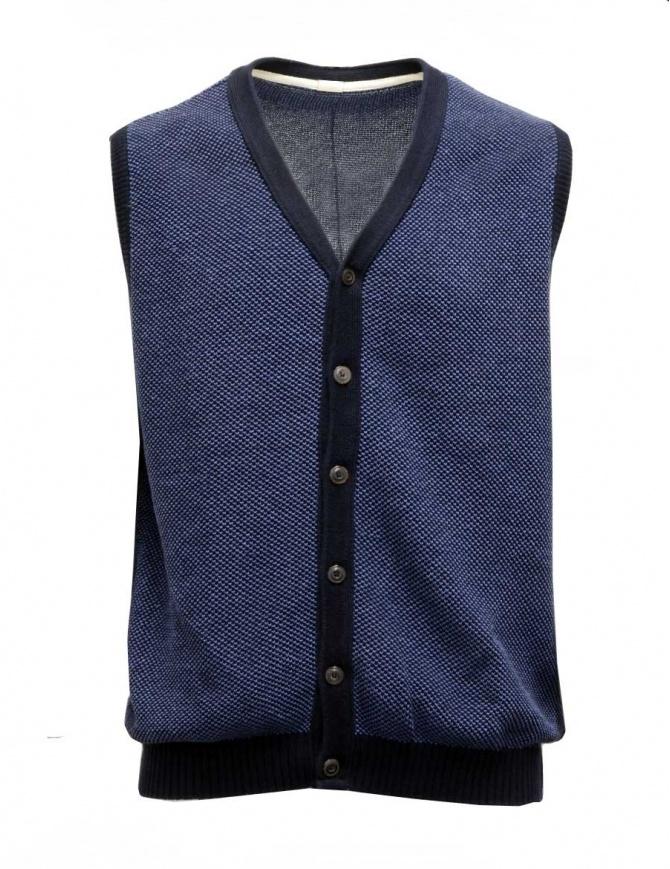 GRP gilet in cotone-lino blu e azzurro 206 GILET BLU GRP gilet uomo online shopping