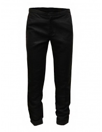 Mens trousers online: Cy Choi Boundary black pants in linen blend