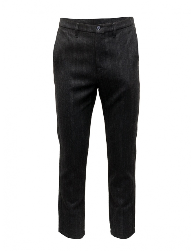 Golden Goose gray striped wool pants G27U502.A5 mens trousers online shopping