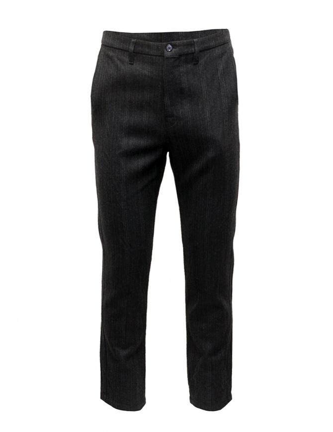 Golden Goose pantaloni grigi in lana a righe G27U502.A5 pantaloni uomo online shopping