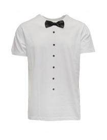 White T-shirt with bow tie on discount sales online