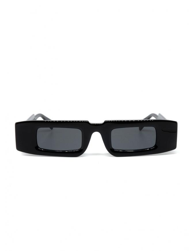 Kuboraum X5 rectangular black glasses with grey lenses X5 48-28 BS 2GRAY glasses online shopping