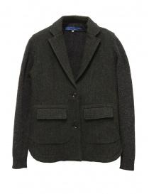 Womens suit jackets online: Hiromi Tsuyoshi herringbone green wool blazer-cardigan
