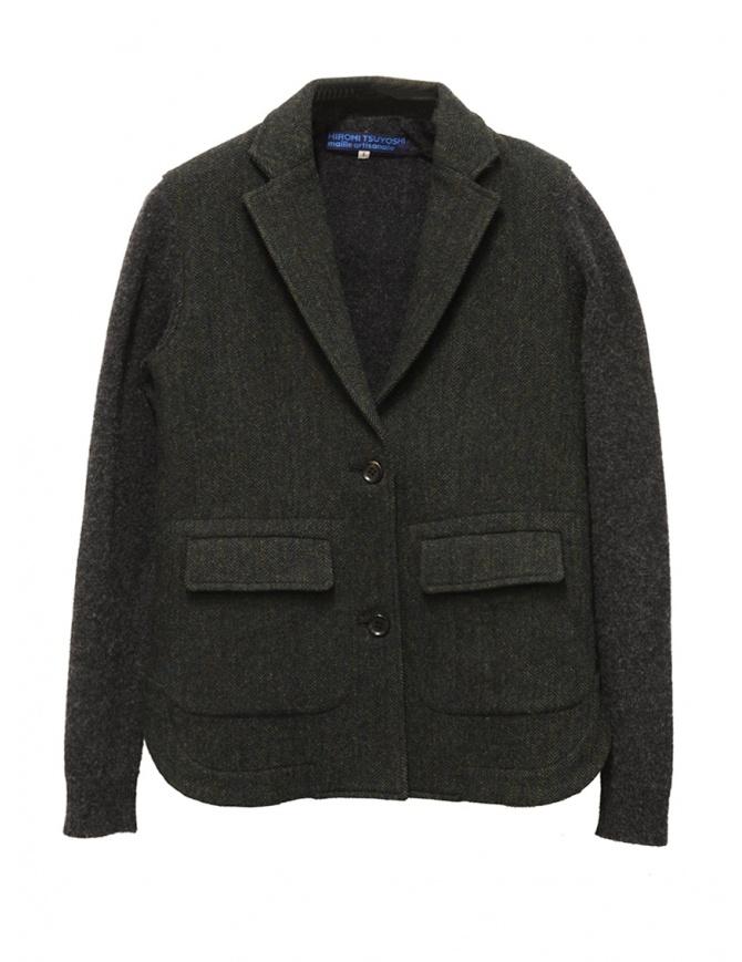 Hiromi Tsuyoshi herringbone green wool blazer-cardigan P-07 CHARCOALGRAY womens suit jackets online shopping