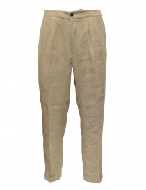 Mens trousers online: Cellar Door Ballet trousers in beige linen