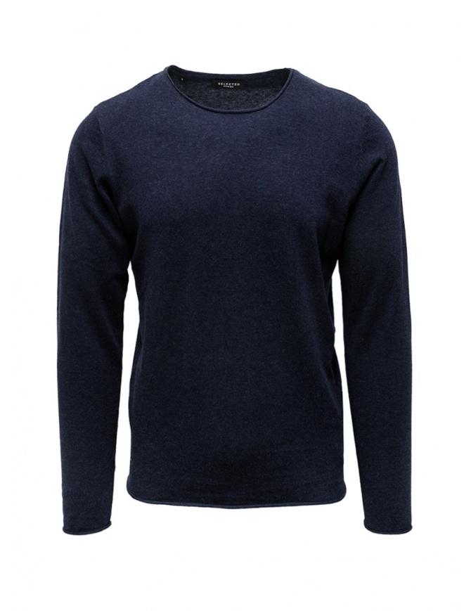 Selected Homme maglia in cotone e seta blu zaffiro 16047649 DARK SAPPHIRE maglieria uomo online shopping