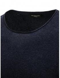 Selected Homme maglia in cotone e seta blu zaffiro prezzo