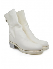 Womens shoes online: Guidi 788ZI white leather boots with metal heel