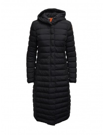Womens coats online: Parajumpers Omega long matte black down jacket