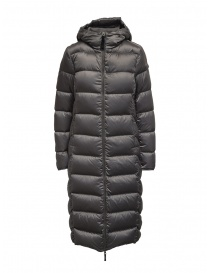 Womens coats online: Parajumpers Leah long grey down jacket with hood