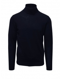 Mens knitwear online: Selected navy blue turtleneck sweater in merino wool
