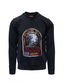Mens knitwear online: Parajumpers Nate blue sweatshirt with front print