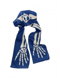 Kapital blue scarf with skeleton print