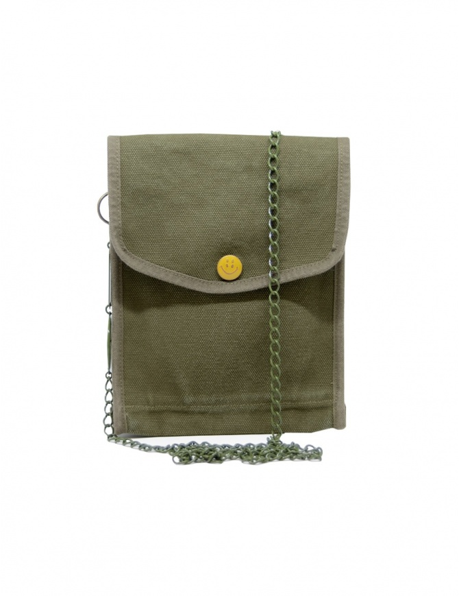 Kapital khaki bag with smile button K2004XB536 KHA bags online shopping