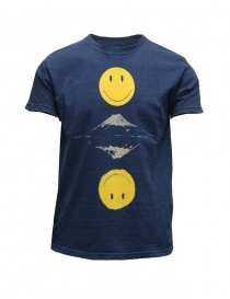 Mens t shirts online: Kapital indigo blue t-shirt with smile and Mount Fuji print