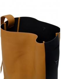 D'Ottavio E47 borsa verticale caramello banda laterale nera