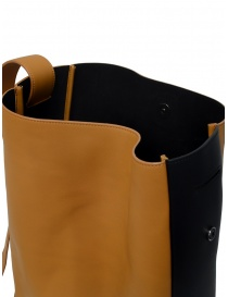 D'Ottavio E47 vertical caramel bag with black side band