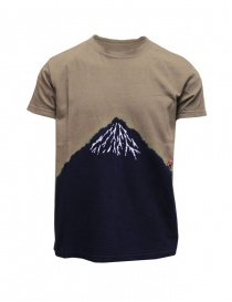 Mens t shirts online: Kapital khaki t-shirt with blue Mount Fuji and climber