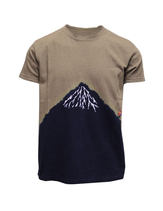 Kapital t-shirt kaki con Monte Fuji blu e scalatore EK-942 SUM t shirt uomo online shopping
