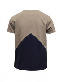 Kapital t-shirt kaki con Monte Fuji blu e scalatore
