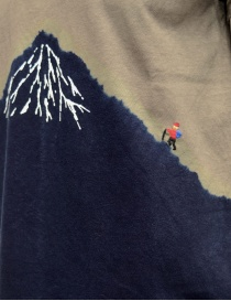 Kapital khaki t-shirt with blue Mount Fuji and climber price