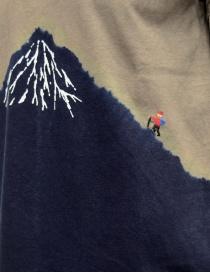 Kapital t-shirt kaki con Monte Fuji blu e scalatore prezzo