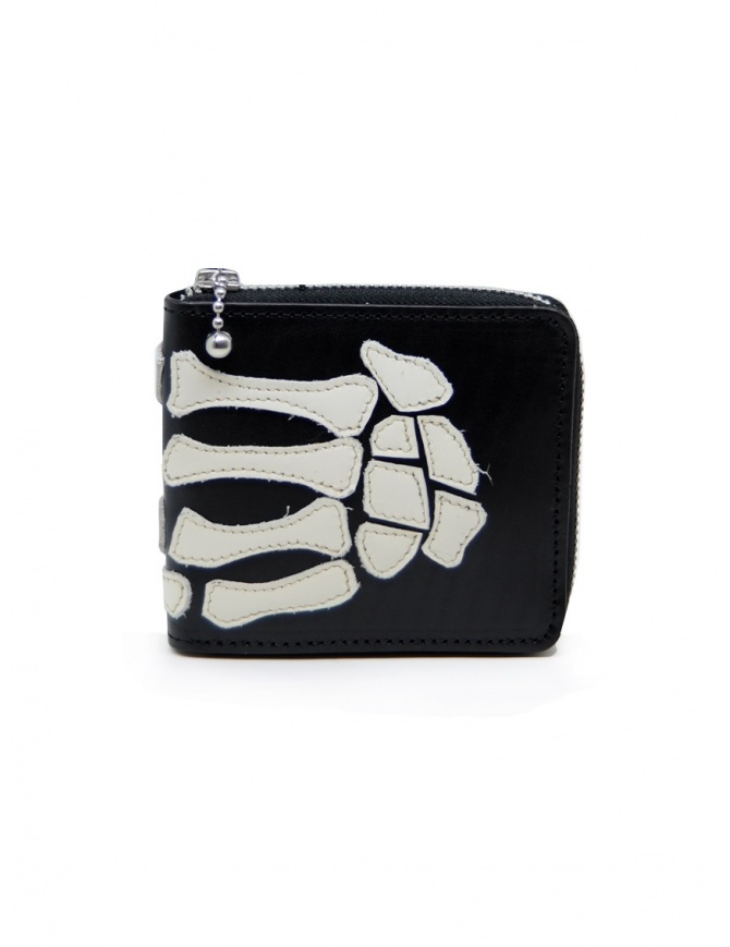 Kapital portafoglio in pelle nera con scheletro mano K2005XG551 BLK portafogli online shopping