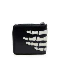 Kapital black leather wallet with hand skeleton