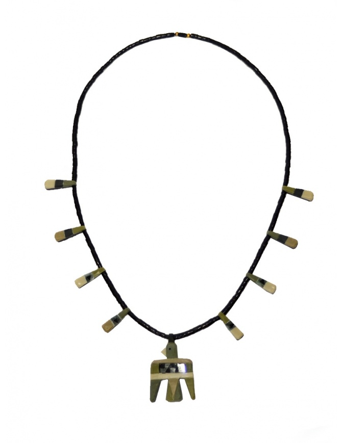 Kapital necklace with birds in green natural stone K2004XG532 KHA jewels online shopping