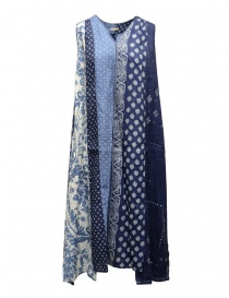 Womens dresses online: Kapital long sleeveless indigo mixed fantasy dress