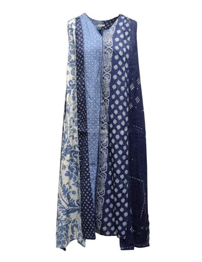 Kapital long sleeveless indigo mixed fantasy dress K2004OP145 IDG womens dresses online shopping