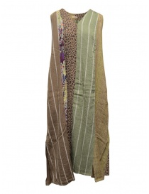 Kapital long sleeveless dress in mixed brown pattern online