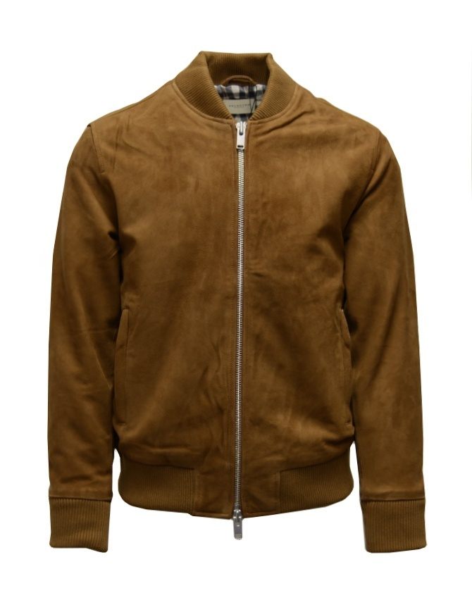 Selected Homme Rubber brown suede bomber jacket 16074424 RUBBER SELECTED mens jackets online shopping