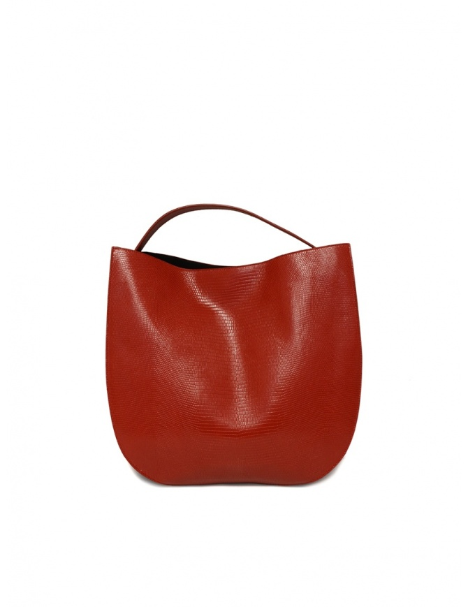 D'Ottavio E48 red round bag with lizard effect E48TS300 bags online shopping