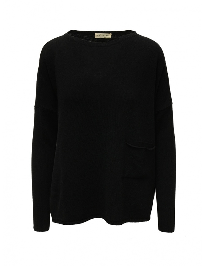 Ma'ry'ya black pullover with pocket YDK019 9BLACK womens knitwear online shopping