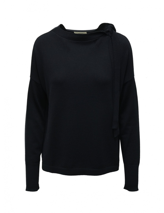 Ma'ry'ya navy sweater with ribbons on the neck YDK031 13NAVY womens knitwear online shopping