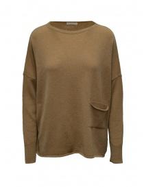 Maglieria donna online: Ma'ry'ya pullover marrone con tasca