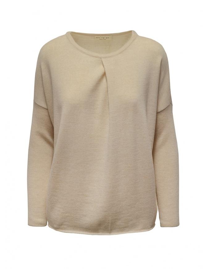 Ma'ry'ya light beige sweater with front crease YDK032 3BEIGE womens knitwear online shopping