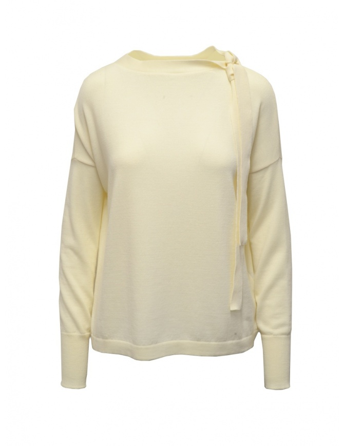 Ma'ry'ya white shirt with ribbons at the neck YDK031 2MILK womens knitwear online shopping