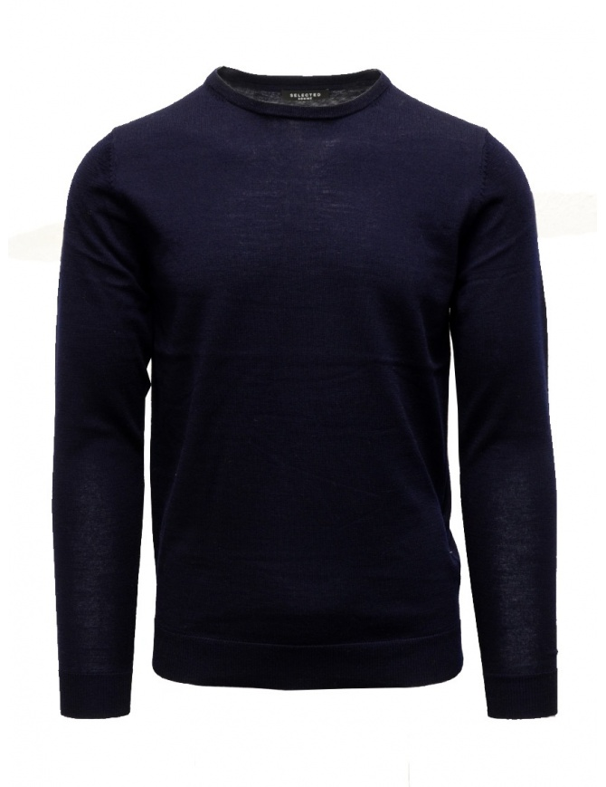 Selected Homme blue merino wool pullover RES-MAGLIA 16070135 NAVY BLAZER mens knitwear online shopping