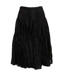 Casey Casey pleated knee-length skirt in black silk 15FJ90 BLACK