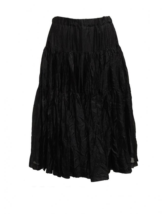 Casey Casey gonna al ginocchio a pieghe in seta nera 15FJ90 BLACK gonne donna online shopping