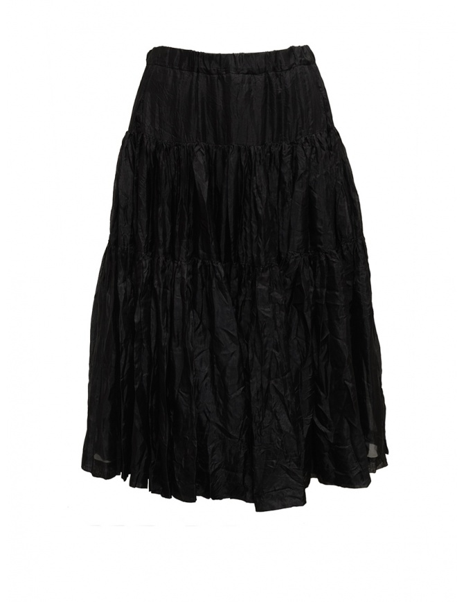 Casey Casey pleated knee-length skirt in black silk 15FJ90 BLACK womens skirts online shopping