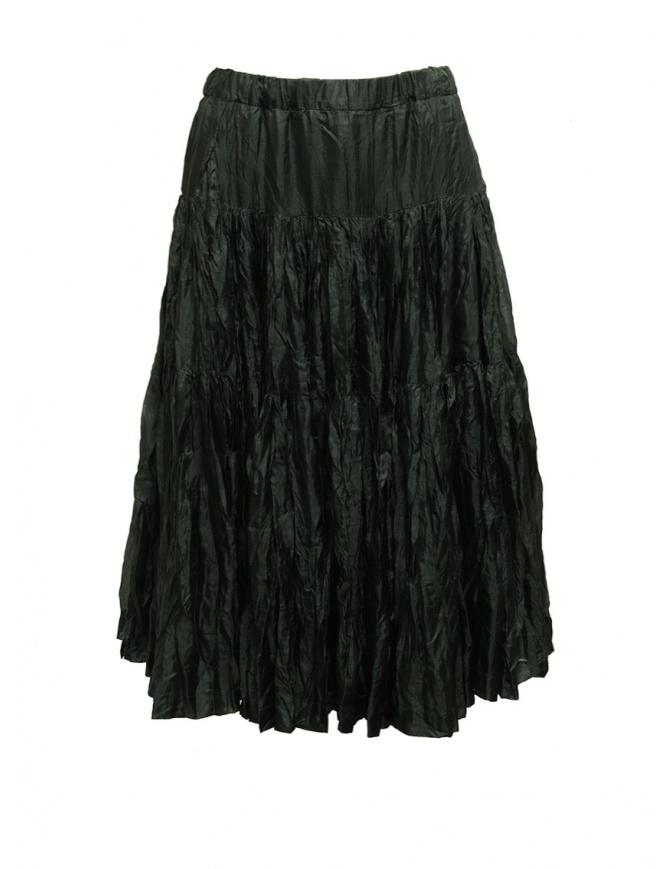 Casey Casey pleated knee length skirt in green silk 15FJ90 MOSS womens skirts online shopping