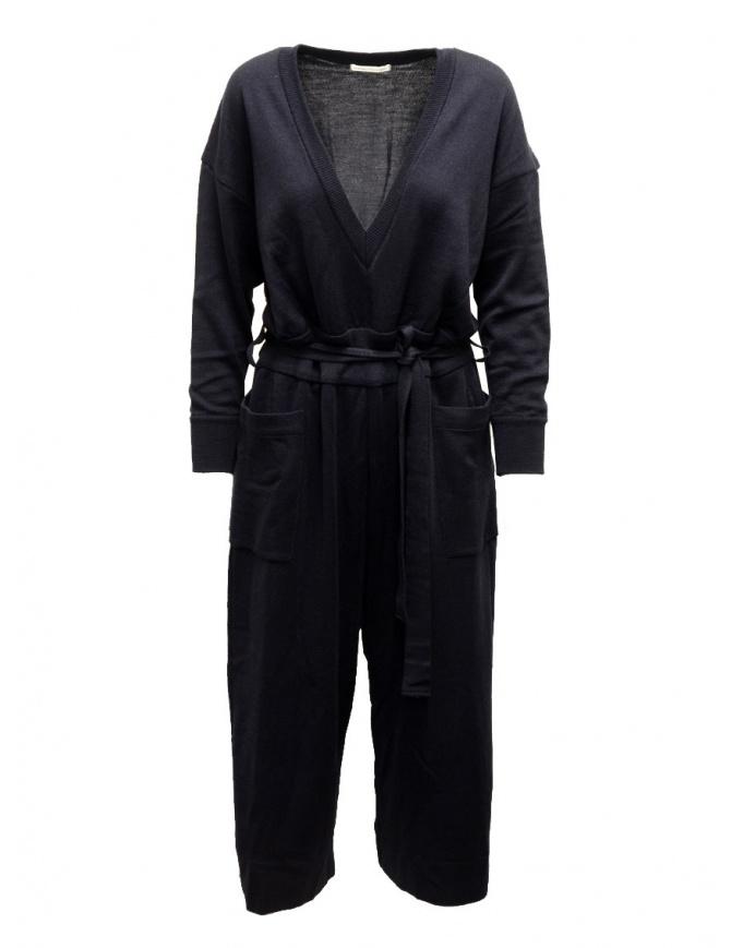 Hiromi Tsuyoshi blue wool and silk jumpsuit RM20-003 NAVY womens dresses online shopping