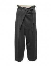 Hiromi Tsuyoshi grey wool knitted trousers for woman online