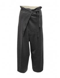 Hiromi Tsuyoshi pantaloni in maglia di lana grigi da donna online